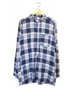 Engineered Garments(エンジニアードガーメンツ)の古着「バンドカラープルオーバーチェックシャツ」|ネイビー