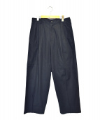 ISSEY MIYAKE MEN(イッセイミヤケメン)の古着「タックワイドパンツ」|ネイビー