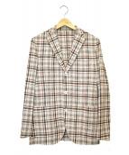 ()の古着「シルクリネンマドラスチェック3Bジャケット」 レッド×ベージュ