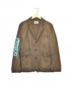 KUON(クオン)の古着「ラバープリント奄美大島泥染リネン混ジャケット」|ブラウン