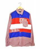 COMME des GARCONS HOMME(コムデギャルソンオム)の古着「パッチワークシャツ」|レッド×ブルー