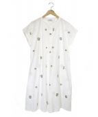 Jocomomola(ホコモモラ)の古着「刺繍Aラインワンピース」 ホワイト×グリーン