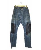 MIHARA YASUHIRO(ミハラヤスヒロ)の古着「再構築リペアパッチデニムパンツ」|インディゴ