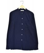 OLD JOE & Co.(オールドジョーアンドコー)の古着「スタッゾボタンバンドカラーシャツ」 ネイビー
