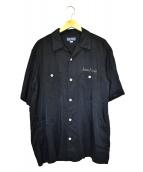 IRON HEART(アイアンハート)の古着「レーヨンオープンカラーシャツ」|ブラック