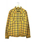 IRON HEART(アイアンハート)の古着「エクストラヘビーフランネルチェックジャケット」|イエロー