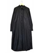 GROUND Y(グラウンドワイ)の古着「タフタメッセージロングシャツ」|ブラック