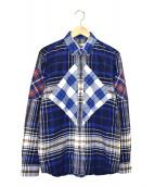GIVENCHY(ジバンシィ)の古着「パッチチワークフランネルチェックシャツ」|ブルー