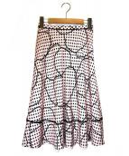 ANAYI(アナイ)の古着「ドットラインフラワープリントフレアスカート」|ピンク