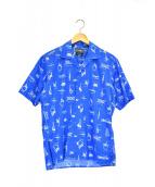 GITMAN BROS(ギットマン ブラザーズ)の古着「総柄オープンカラーシャツ」|ブルー