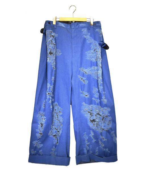 SHINYA KOZUKA(シンヤコズカ)SHINYA KOZUKA (シンヤコズカ) ダメージ加工ワイドパンツ インディゴ サイズ:M BDT PANTS 参考定価¥73.000+税の古着・服飾アイテム