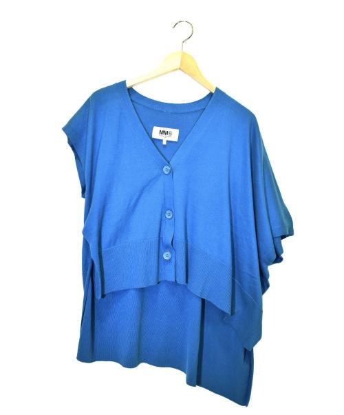 MM6(エムエムシックス)MM6 (エムエムシックス) ワイドデザインカーディガン ブルー サイズ:Sの古着・服飾アイテム