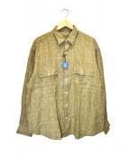 Porter Classic(ポータークラシック)の古着「ロールアップリネンチェックシャツ」|ベージュ
