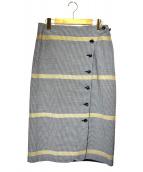 自由区(ジユウク)の古着「フロントボタンタイトスカート」|グレー×ベージュ