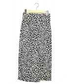MACPHEE(マカフィ)の古着「レオパードプリントラップスカート」|ベージュ×ブラック