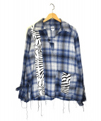 AiE(エーアイイー)の古着「シャドウプレイドフランネルシャツ」|ホワイト×ブルー