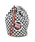 MIU MIU(ミュウミュウ)の古着「ギンガムチェック巾着バッグ」 ホワイト×ブラック
