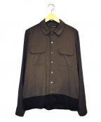 JohnUNDERCOVER(ジョンアンダーカバー)の古着「バイカラーコットンレーヨンシャツ」|ブラウン