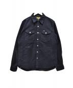 IRON HEART(アイアンハート)の古着「ヘビーモールスキンC.P.Oシャツジャケット」|ネイビー