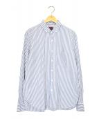 BRU NA BOINNE(ブルーナボイン)の古着「BDストライプシャツ」|ホワイト×ブルー