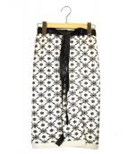 CHANEL(シャネル)の古着「レザーコードニットラップスカート」|アイボリー