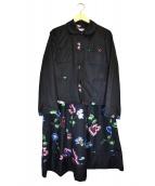 robe de chambre COMME des GARCONS(ローブドシャンブル コムデギャルソン)の古着「フラワープリントセットアップジャケット」|ブラック