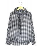 BLACK COMME des GARCONS(ブラックコムデギャルソン)の古着「フーデッドギンガムチェックシャツ」|ホワイト×ブラック