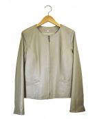 NATURAL BEAUTY(ナチュラルビューティー)の古着「ノーカラーレザージャケット」 グレー