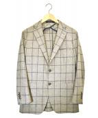 TAGLIATORE(タリアトーレ)の古着「ウールチェック2Bジャケット」|ベージュ