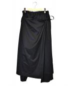 GROUND Y(グラウンドワイ)の古着「ラップクロップドレングスパンツ」|ブラック