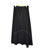 Y's(ワイズ)の古着「ステッチロングスカート」|ブラック