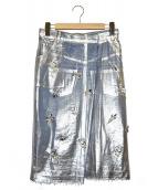 MUVEIL(ミュベール)の古着「メタリックビジュー装飾デニムスカート」|シルバー