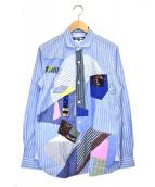 JUNYA WATANABE CDG(ジュンヤワタナベコムデギャルソン)の古着「綿平ストライプ×多素材MIXシャツ」|ブルー