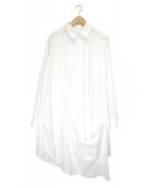 Y's(ワイズ)の古着「デザインフレアシャツワンピース」|ホワイト