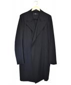 Y's(ワイズ)の古着「ウールギャバカットオフカラーコート」|ブラック