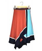 LOVELESS(ラブレス)の古着「カラーブロックシンメトリースカート」|レッド×ブルー