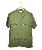 H.R.MARKET(ハリウッドランチマーケッド)の古着「リネンミリタリーシャツ」|カーキ