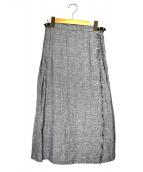 ONEIL OF DUBLIN(オニールオブダブリン)の古着「グレンチェックラップスカート」 グレー