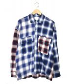 MONKEY TIME(モンキータイム)の古着「オンブレチェックシャツ」|ブルー×レッド
