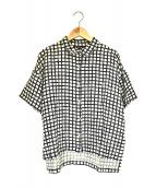 mizuiro-ind(ミズイロインド)の古着「ワイドシルエットリネンチェックシャツ」|ベージュ×ブラック