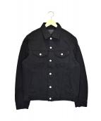 IRON HEART(アイアンハート)の古着「黒鎧デニムサイドポケット付トラッカージャケット」|ブラック