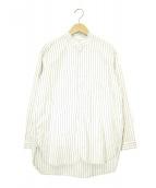 nest Robe(ネストローブ)の古着「ストライプモールスタンドカラーシャツ」|ホワイト×ブルー