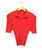 PLEATS PLEASE(プリーツプリーズ)の古着「S/Sプリーツシャツ」|レッド