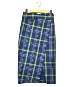 ROPE(ロペ)の古着「チェックハイウェストタイトスカート」|ブルー×グリーン