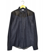 Saint Laurent Paris(サンローランパリ)の古着「ヨークレザー切替デニムシャツ」|インディゴ