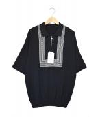 crepuscule(クレプスキュール)の古着「ハーフジップ半袖ニット」|ブラック