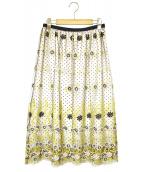 Loulou Willoughby(ルルウィルビー)の古着「フラワーチュールドットギャザースカート」 ベージュ