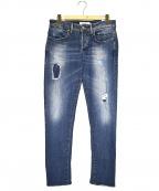 SIVIGLIA(シビリア)の古着「ダメージ加工スリムデニムパンツ」|ブルー