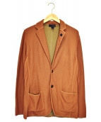 LARDINI(ラルディーニ)の古着「コットンミラノリブソリッドニットジャケット」|ブラウン