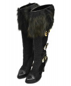 ()の古着「ファートップロングブーツ」 ブラック